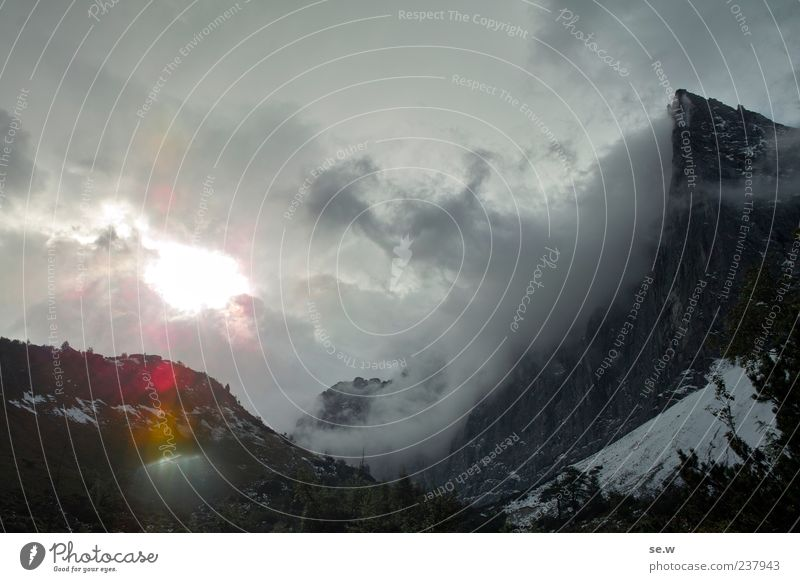 cloud driving Sky Clouds Storm clouds Sun Sunrise Sunset Autumn Snow Alps Mountain Chalk alps Karwendelgebirge Snowcapped peak Infinity Loneliness