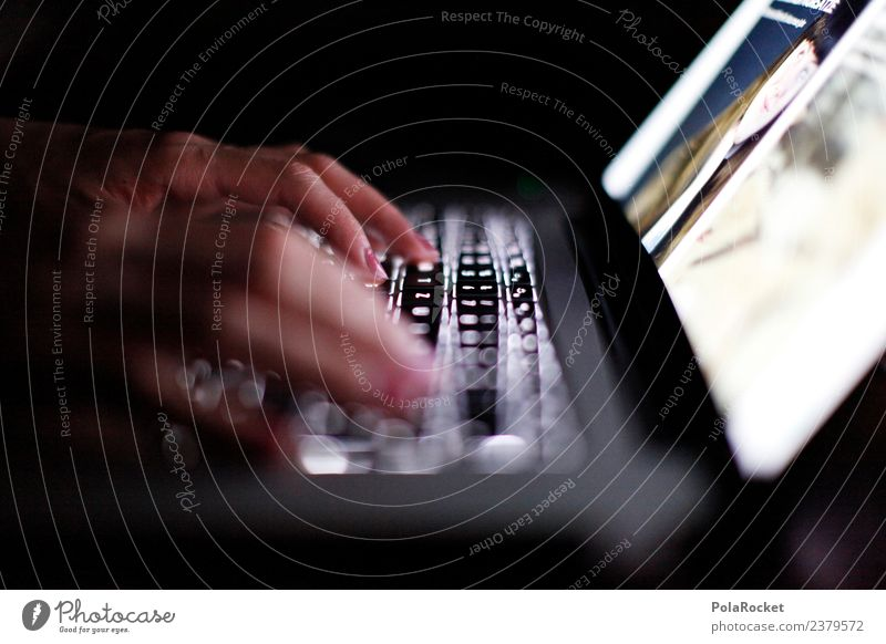 #A# Night work II Art Esthetic Notebook Work and employment Keyboard Keyboard shortcut Search Internet Surfing Digital digitization Subdued colour Exterior shot