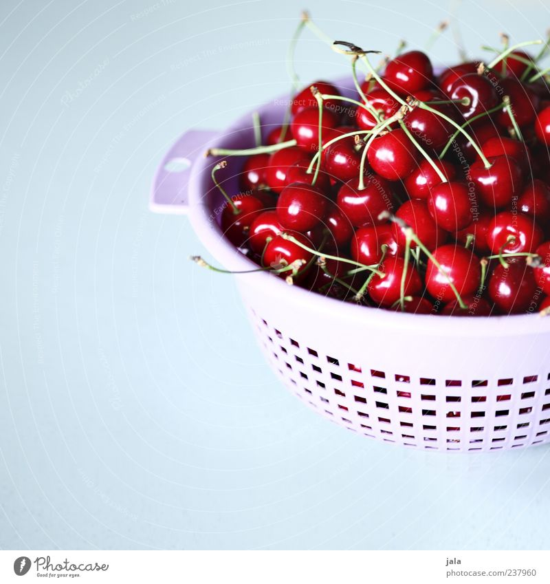 get it! Food Fruit Cherry Nutrition Organic produce Vegetarian diet Finger food Sieve Healthy Delicious Red Colour photo Interior shot Deserted Copy Space left