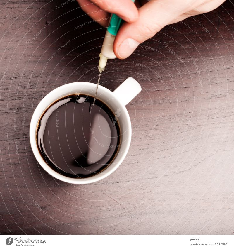 extra Coffee Cup Fingers Wood Fluid Astute Round Brown Green White Lack of inhibition Society Risk Syringe Doping Caffeine Inject Colour photo Interior shot