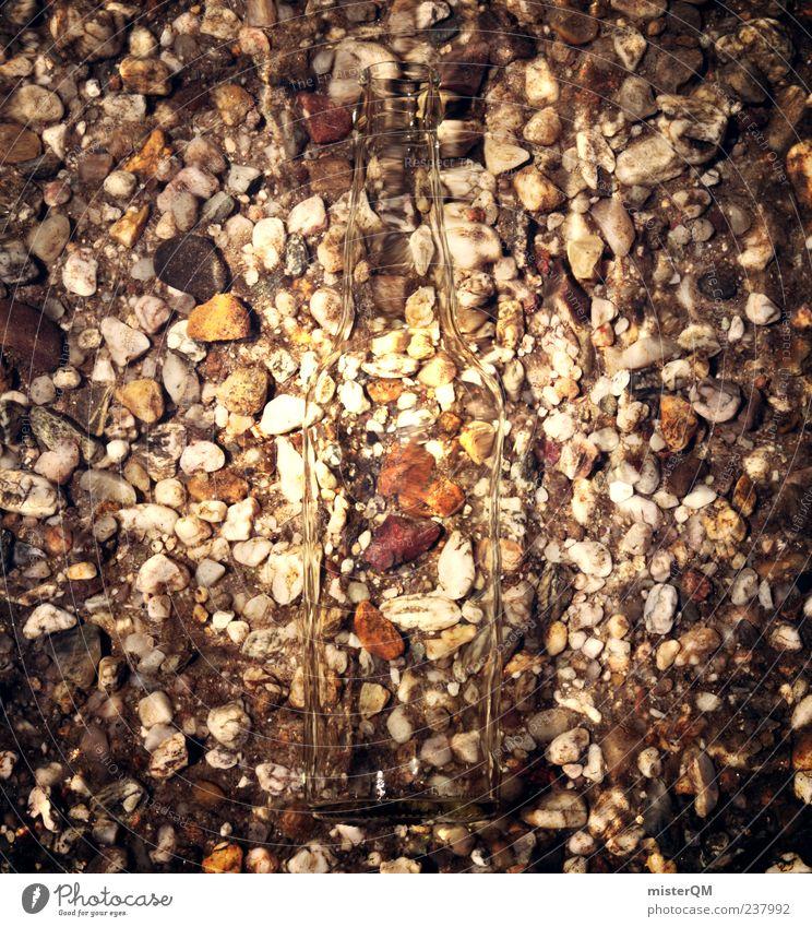 Second look. Art Esthetic Water Trash Environmental pollution Gravel Pebble Gravel pit Gravel beach Bottle Bottle of water Underwater photo Shabby Decent Detail