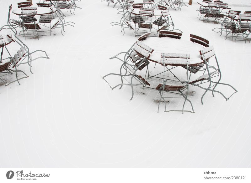 waiting for spring Restaurant Café Beer garden Terrace Gastronomy Winter Ice Frost Snow Table Chair Folding chair White Closed Round Winter festival