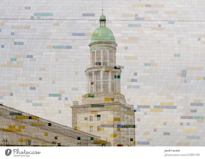 Frankfurter Tor in the pattern Style Architecture Friedrichshain Tower Decoration Tile Line Mosaic Exceptional Sharp-edged great Retro Agreed Complex Surrealism