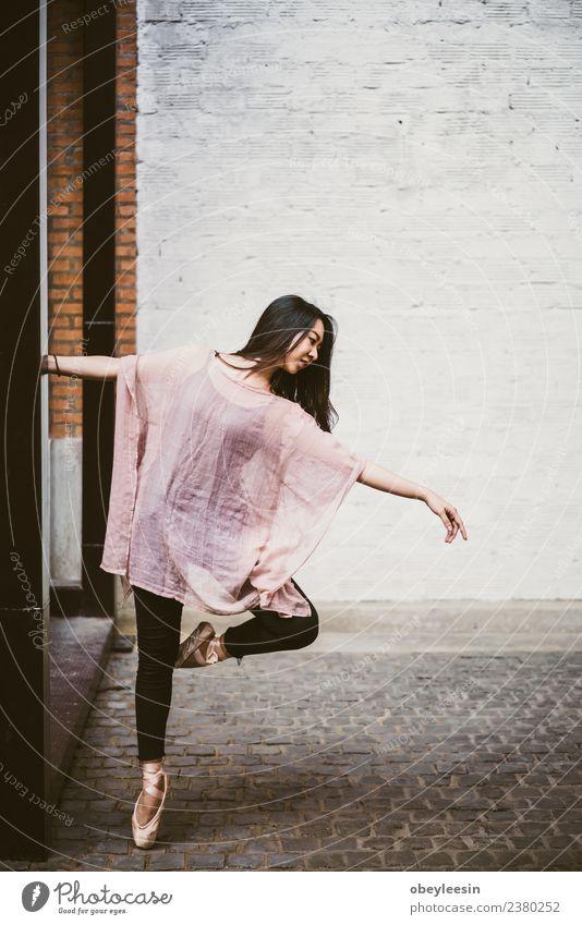 Beautiful young asian woman Street ballet dancer Woman White Black Adults Movement Feminine Art Elegant Action Dance Posture Profession Thin Self-confident