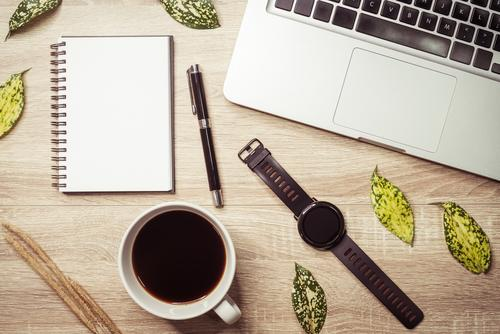 Creative flatlay with fashion object on white background Coffee Vacation & Travel Tourism Trip Summer Desk Table Work and employment Office Business Plant