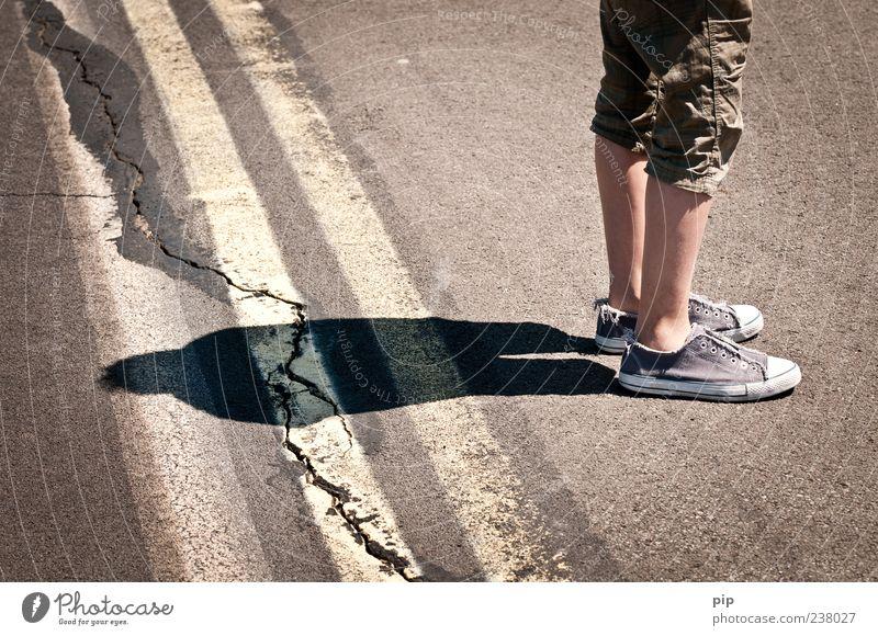 Shadow crack Human being Masculine Legs 1 Street Marker line Pants Footwear Chucks Stripe Stand Wait Calm Crack & Rip & Tear Silhouette Motionless Asphalt