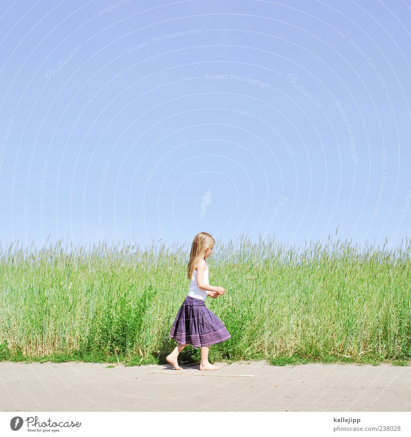 Human being Child Sky Nature Plant Summer Girl Joy Environment Landscape Meadow Life Warmth Playing Grass Sand