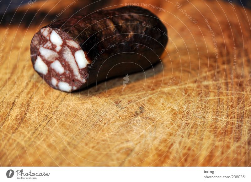 FDPC Sausage Nutrition Close-up Copy Space bottom Copy Space middle blood sausage Fat Red Deserted 1 Part Wooden board