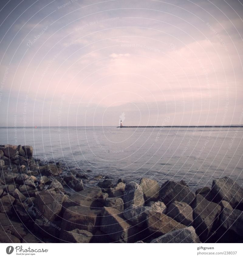 dream within a dream Environment Nature Landscape Elements Water Sky Clouds Horizon Waves Coast Bay Baltic Sea Ocean Calm Lighthouse Mole Harbour Stone