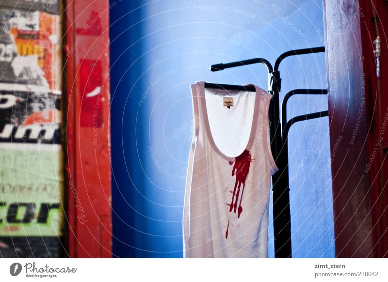 Blue White Red Dirty Clothing Creepy Force Trashy Hang Bizarre Blood Disgust Underwear Suspended Undershirt Hallstand