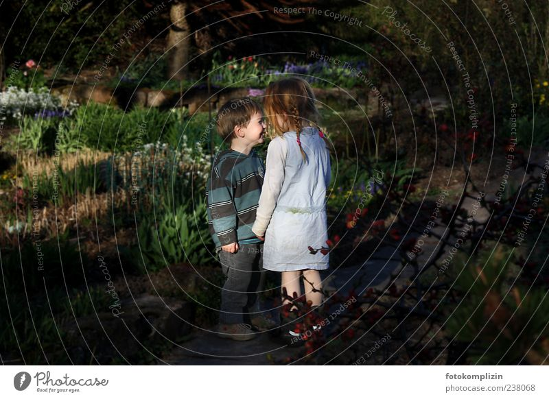 Gretel and Hansel Playing Child Girl Boy (child) Brothers and sisters Sister Friendship Infancy Garden Love Stand Near Emotions Moody Happy Happiness
