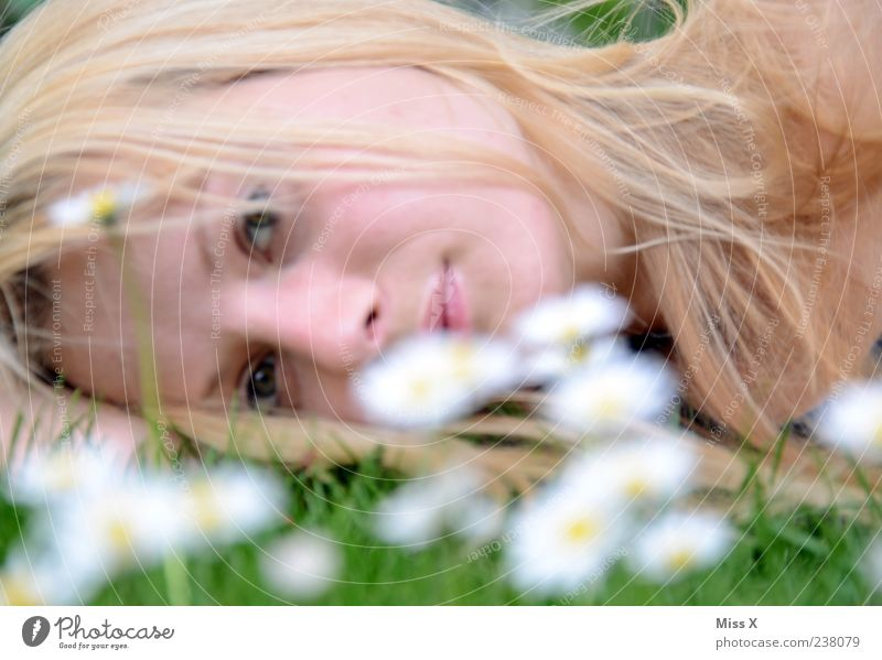 Human being Nature Youth (Young adults) White Beautiful Flower Calm Face Adults Relaxation Meadow Feminine Spring Grass Hair and hairstyles Blossom