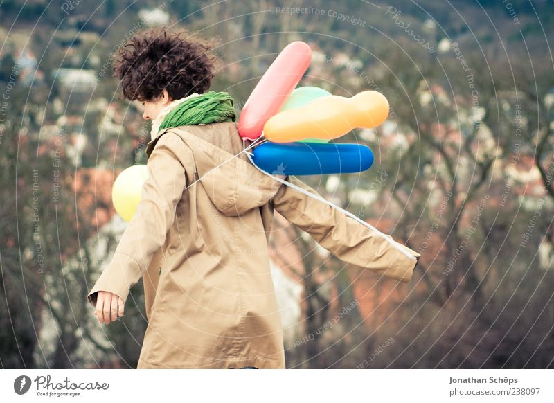 young woman with balloon on the mountain at a city Lifestyle Joy Human being Young woman Youth (Young adults) 1 18 - 30 years Adults Dream Emotions Contentment