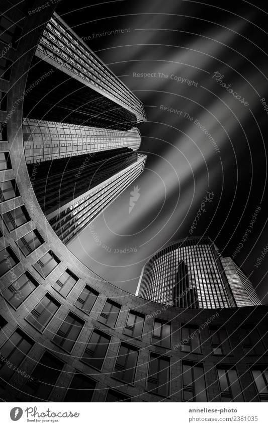 Skyscrapper Frankfurt Germany Europe Town Downtown House (Residential Structure) High-rise Bank building Building Architecture Modern Black & white photo