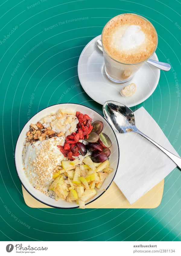 Breakfast Bowl and Latte Macchiato Fruit Nutrition Beverage Hot drink Coffee Latte macchiato Lifestyle Healthy Eating breakfast bowl Café Cereal Vegan diet