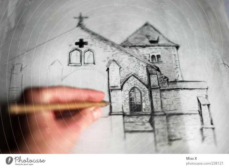 Hand Old Vacation & Travel Window Gray Religion and faith Art Facade Church Leisure and hobbies Exceptional Crucifix Pen Draw Painting and drawing (object)