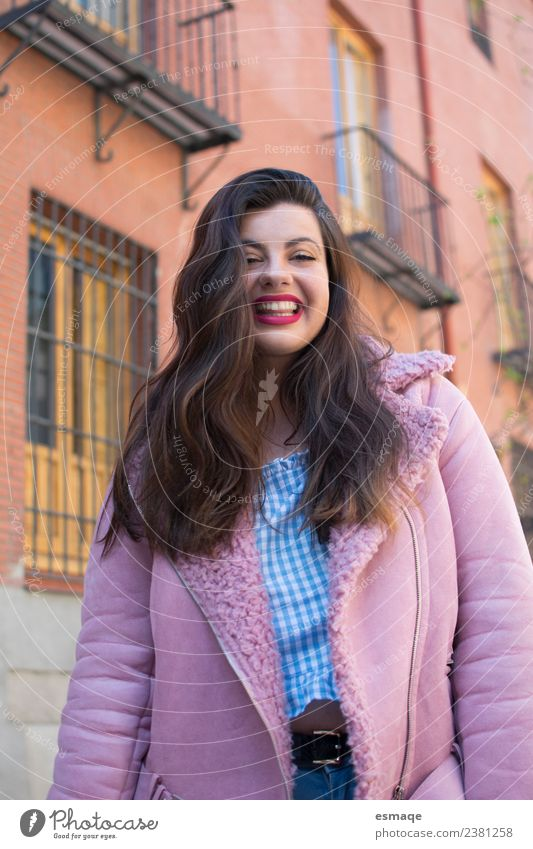 Cute woman with Pink coat un street Woman Human being Youth (Young adults) Young woman Town Beautiful Colour Joy Adults Healthy Natural Feminine Style Happy