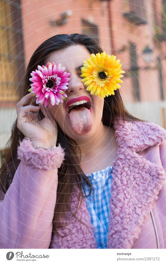 Crazy woman enjoying spring Youth (Young adults) Young woman Town Beautiful Flower Joy Face Spring Funny Feminine Health care Laughter Fashion Pink Contentment