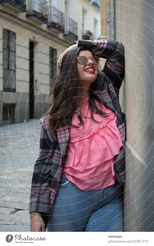 Portrait of smiling woman on the street Human being Vacation & Travel Youth (Young adults) Young woman Town Colour Beautiful Lifestyle Emotions Fashion Pink