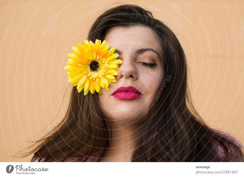 portrait of woman with flower Woman Human being Youth (Young adults) Colour Beautiful Flower Relaxation Calm Joy 18 - 30 years Face Adults Lifestyle Healthy