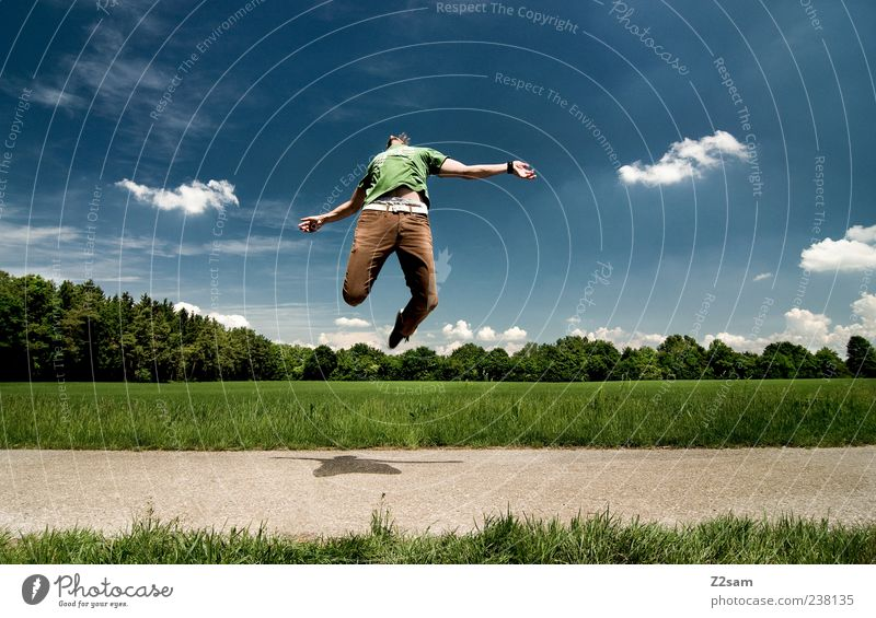 Human being Sky Nature Youth (Young adults) Blue Green Clouds Adults Landscape Movement Jump Style Brown Flying Exceptional Free