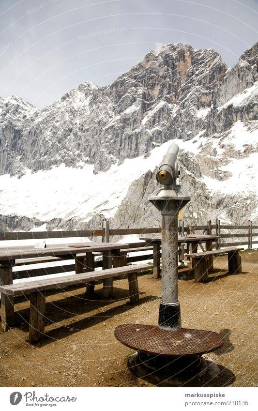 Vacation & Travel Summer Far-off places Snow Mountain Trip Tourism Alps Peak Vantage point Snowcapped peak Glacier Expedition Binoculars Telescope