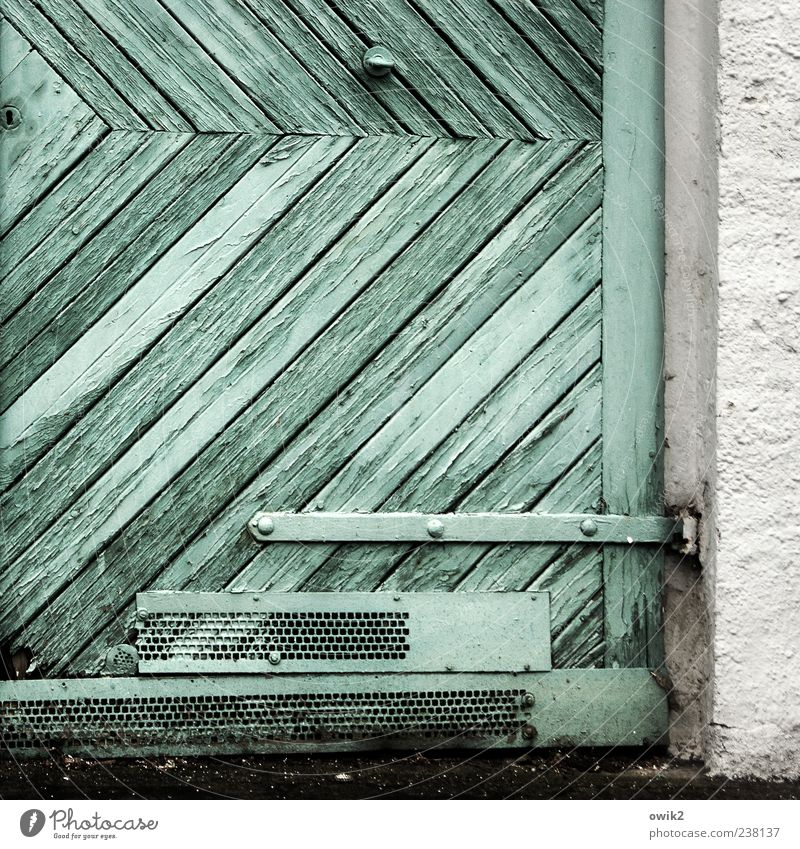 Old White Colour Black Wall (building) Gray Wall (barrier) Bright Door Dirty Gloomy Simple Turquoise Crack & Rip & Tear Sharp-edged Flake off