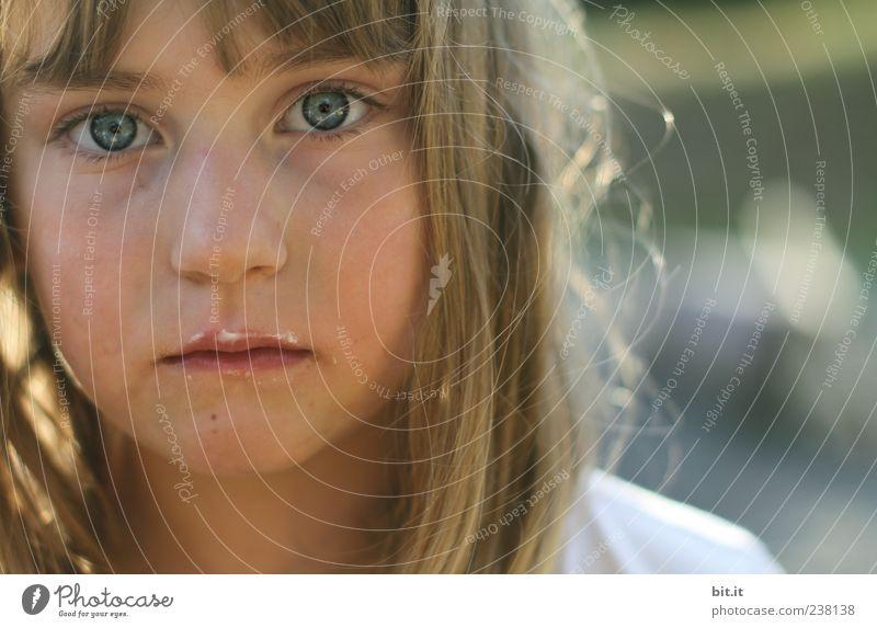 Human being Child Girl Eyes Feminine Hair and hairstyles Head Blonde Infancy Sweet Cute To enjoy 8 - 13 years Long-haired Bangs Dreamily