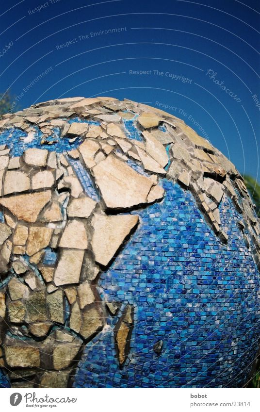 fragmentation globe Globe Planet Art Africa Europe Asia Craft (trade) Earth music Blue Stone