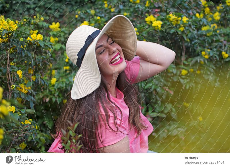 woman with hat in the flower field Lifestyle Exotic Joy Healthy Medical treatment Alternative medicine Feminine Young woman Youth (Young adults) 1 Human being