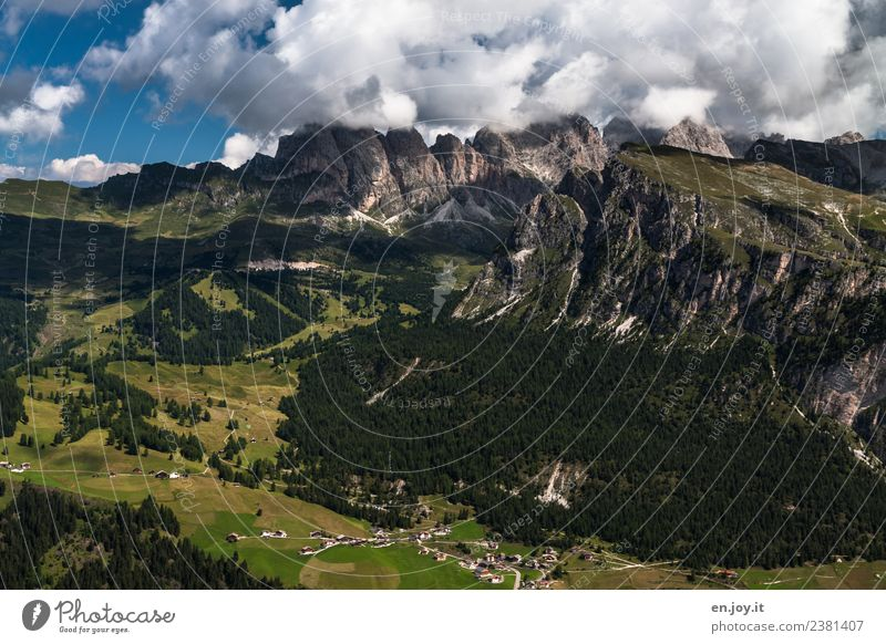 Val Gardena Vacation & Travel Tourism Trip Adventure Far-off places Freedom Summer Summer vacation Mountain Hiking Nature Landscape Clouds Rock Alps Dolomites