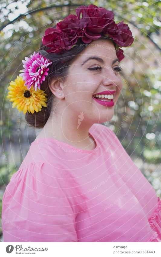 Portrait of beauty woman with flower Woman Human being Nature Youth (Young adults) Young woman Summer Flower Joy Face Adults Lifestyle Laughter Freedom