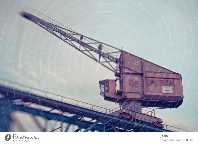 old load Industry Sky Old Work and employment Large Blue Brown Crane Dockside crane Outrigger Steel Colour photo Exterior shot Lomography Deserted Day Blur