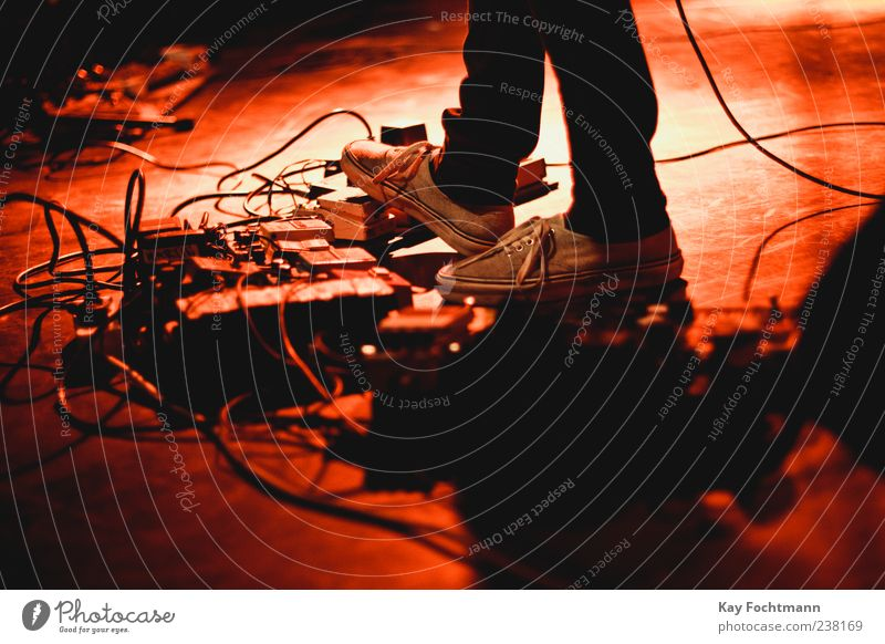 . Musician Guitarist Entertainment Cable Additional percussion Human being Masculine Feet 1 Stage Event Concert Jeans Footwear Red Colour photo Interior shot