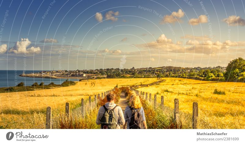 golden path Vacation & Travel Trip Far-off places Summer Summer vacation Sun Hiking Human being 2 Landscape Sky Clouds Horizon Sunrise Sunset Beautiful weather