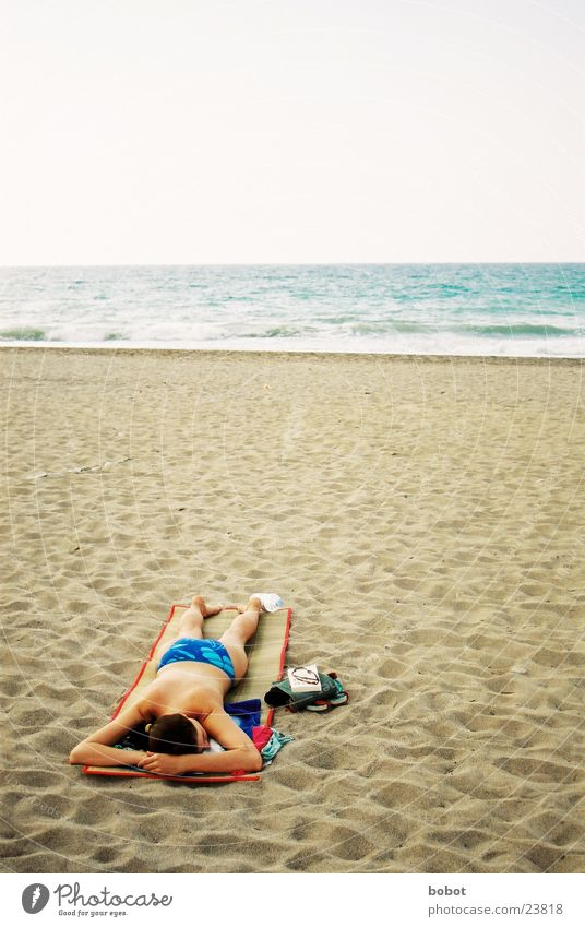 Woman Vacation & Travel Ocean Beach Relaxation Sand Waves Sunbathing Sea water