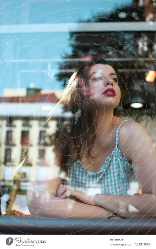 portrait of young woman behind the glass Woman Human being Youth (Young adults) Town Young man Eroticism Loneliness Joy Adults Lifestyle Flat (apartment) Glass