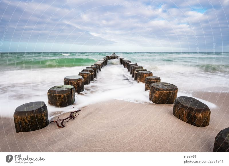 Buhnen at the coast of the Baltic Sea on a stormy day Relaxation Vacation & Travel Tourism Beach Ocean Waves Nature Landscape Water Clouds Gale Coast Wood Blue