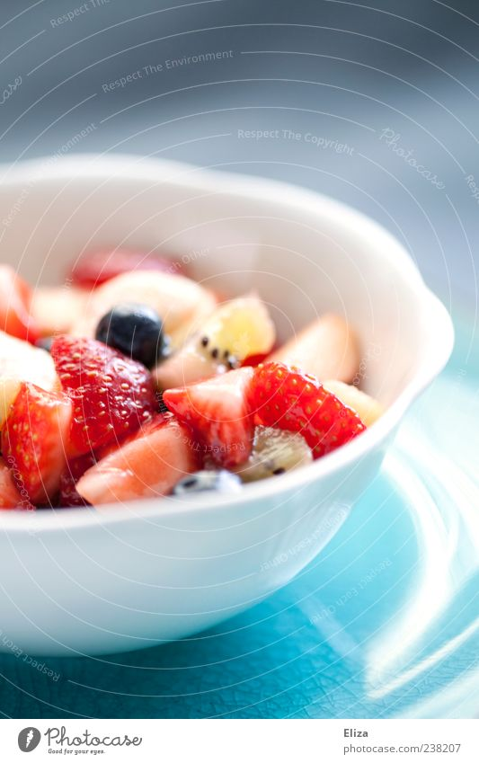 fruit freshness Fruit Vegetarian diet Bowl Fresh Healthy Delicious Strawberry Bright Kiwifruit Multicoloured Detail Deserted Copy Space top Fruit salad Snack