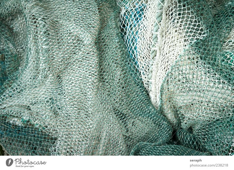 Net Fishing net Fishery Rope Material Plaited Structures and shapes Background picture Maritime Lie Deserted Bird's-eye view