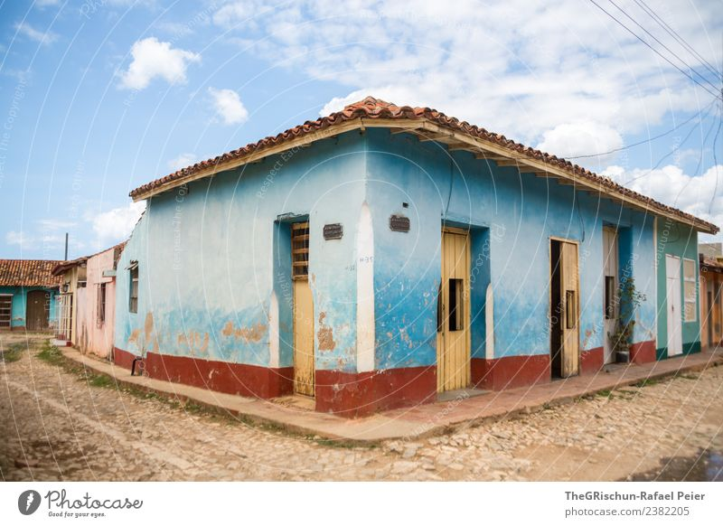 Blue his hous with the blue little window and the blue..... Town Brown Red Black Cuba Trinidade House (Residential Structure) Door Roof Sky Clouds Pavement
