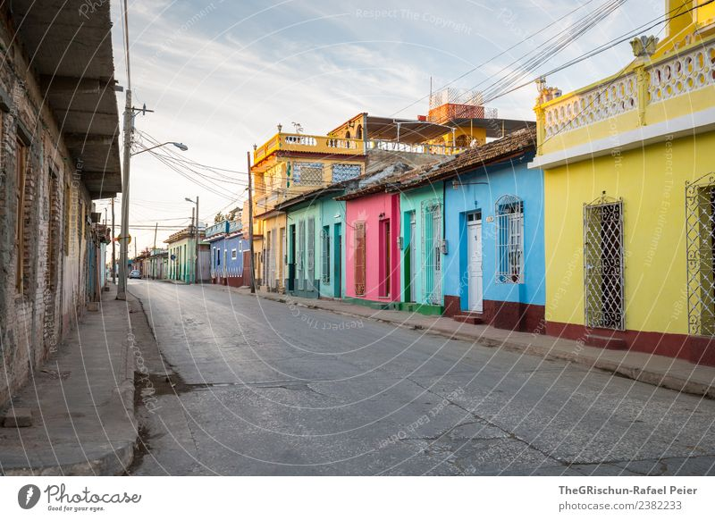 Colourful Cuba Small Town Blue Multicoloured Yellow Gold Gray Green Black Turquoise Calm Esthetic Happiness Moody Dawn Street House (Residential Structure)