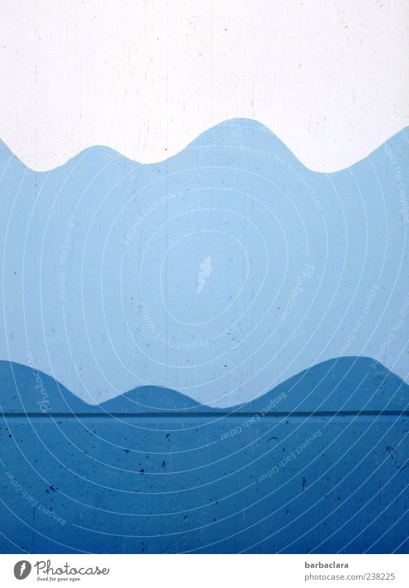 Blue Water White Summer Wall (building) Wall (barrier) Bright Waves Design Fresh Esthetic Swimming pool Beautiful weather Painting and drawing (object) Symmetry