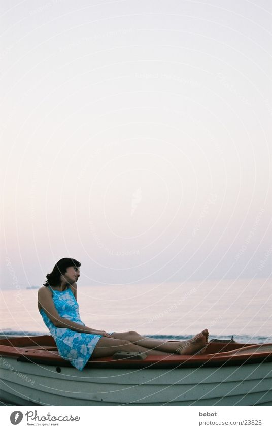 Woman Water Sky Ocean Blue Vacation & Travel Calm Dream Think Warmth Contentment Watercraft Horizon Europe Dress Thought