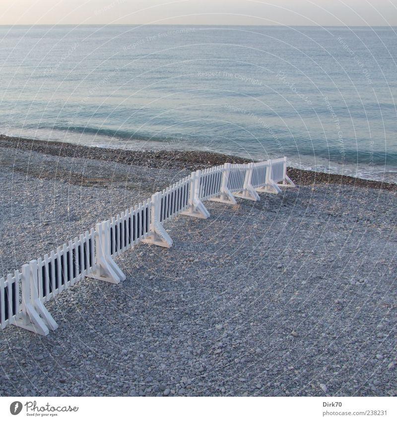 Blue Water White Ocean Beach Far-off places Coast Gray Horizon Europe Fence Border Barrier France Cote d'Azur