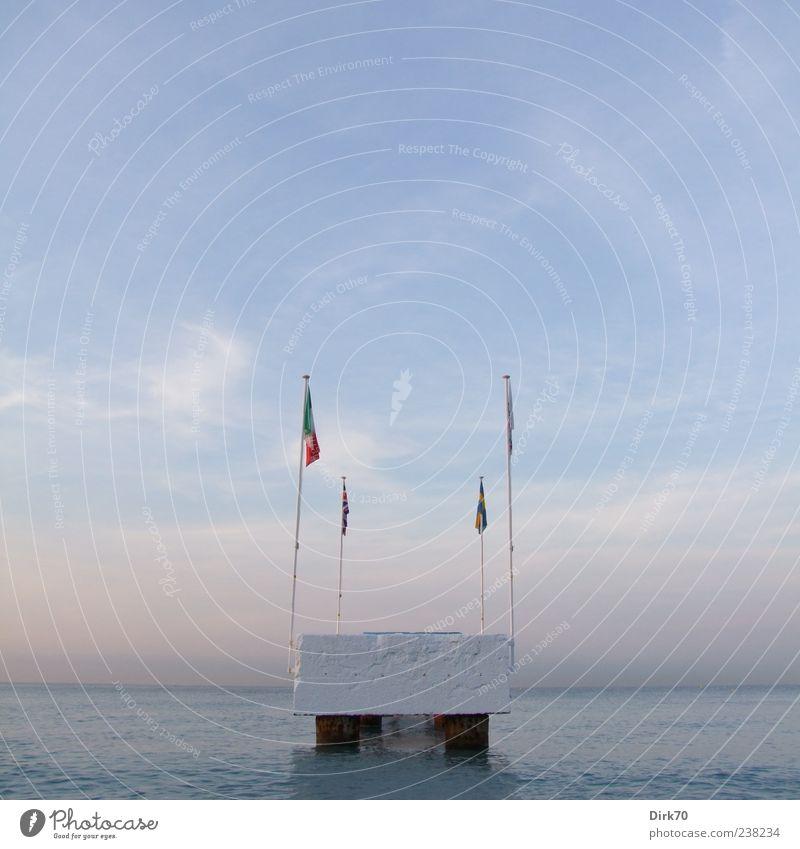 Sky Blue Water White Vacation & Travel Ocean Summer Beach Clouds Coast Horizon Pink Concrete Europe Flag Footbridge