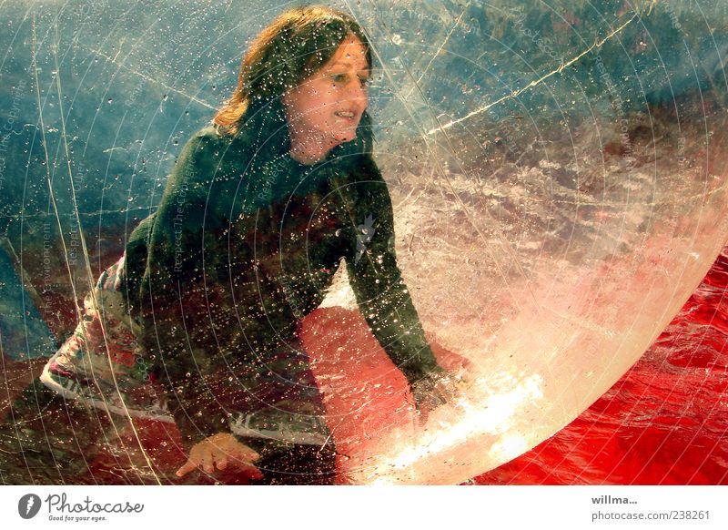 Human being Woman Water Red Joy Adults Feminine Playing Dream Leisure and hobbies Illuminate Plastic Sphere Transparent Dynamics Funsport