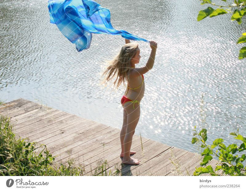 Human being Child Blue Water Summer Girl Joy Playing Movement Air Bright Blonde Infancy Wind Esthetic Stand