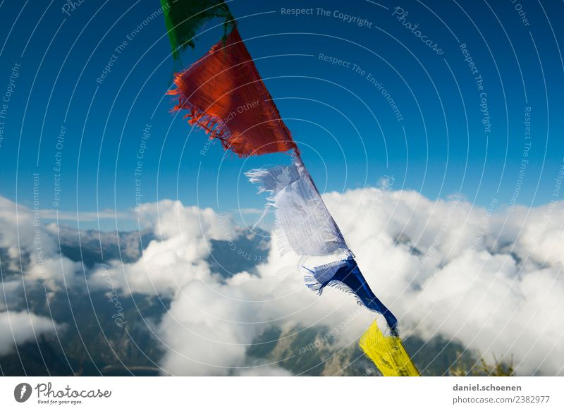 on top Sky Wind Mountain Peak Flag Prayer flags Blue Adventure Effort Success Belief Religion and faith Multicoloured Deserted Copy Space left Copy Space right