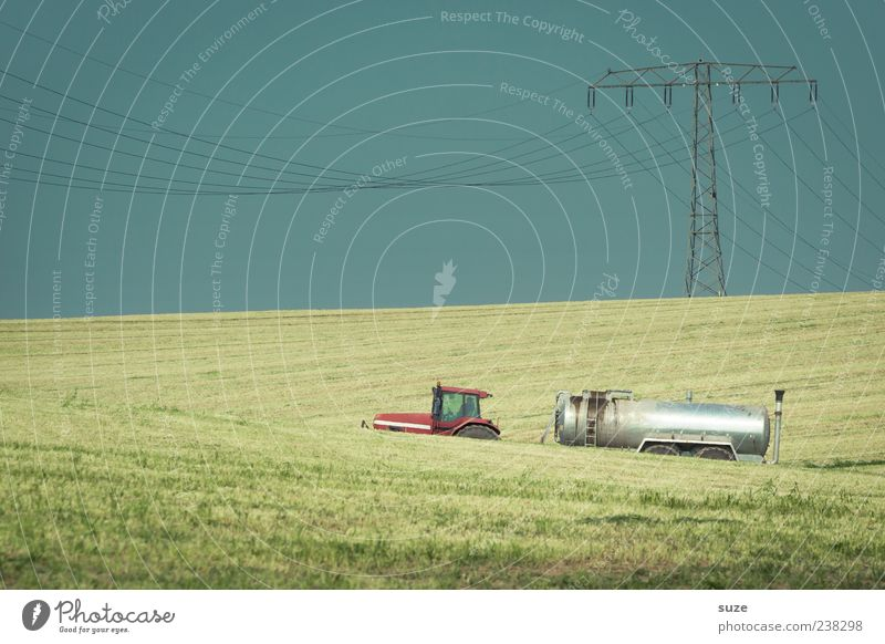 septic tank Work and employment Agriculture Forestry Machinery Environment Nature Sky Cloudless sky Horizon Weather Meadow Field Tractor Authentic Blue Green